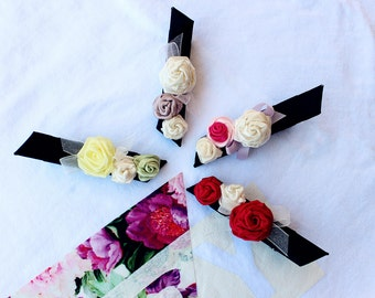Triple roses elegant hair clip-hair accessories-special occasions-wedding guest-party