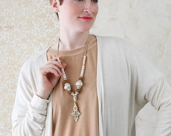 Coptic Cross Pendant with African Bone Beads on Ivory Beaded Necklace with Leather - Coptic Cross Necklace - The Traveling  Necklace