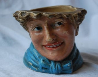 Vintage Art Deco Lady Pottery Planter Pot or Jar 1920's - 1930's