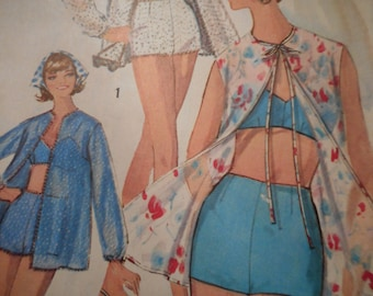 Vintage 1960's Simplicity 5507 Bathing Suit Sewing Pattern Size 12 Bust 32
