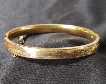 Victorian B. A. Ballou Gold Filled Etched Flower Hinged Bangle Bracelet
