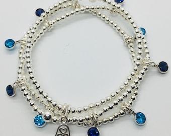 Stack of Sterling Silver Beaded Bracelets, Silver Bead Bracelets, Stacking Bracelets, Stretch Bracelets, Bracelets with Charms