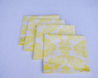 Cloth Napkins Set of 4 (yellow and white)