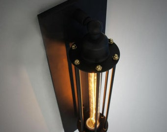 Rare Vintage iron Cage Wall Mount Industrial Edison tube bulb Lamp Ceiling Retro Light