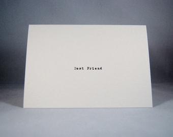 Best Friend card typewriter font blank