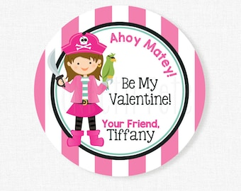 Pirate Girl Valentine's Day Tags, Be My Valentine Tag, Pirate Valentines, Class Treats Tag, Girl Valentines Personalized