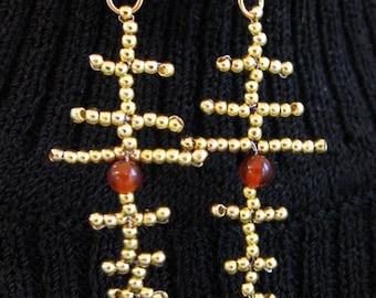 Golden Brass Bead Cross Pattern Earrings with Carnelian, Gold Filled Findings