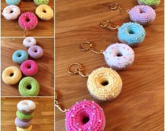 Crochet doughnut keyrings