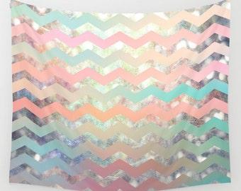 Wall tapestry- chevron design wall art- pink-light green-peach-modern wall decor- fabric wall hanging- pastel colors- dorm decor