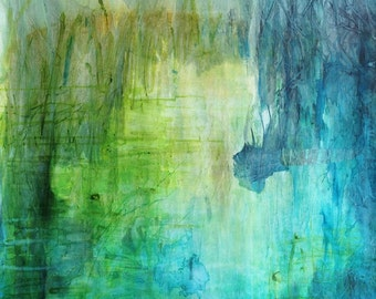 Peaceful pond - original painting on cotton canvas, ink and collage, abstract waterscape