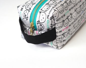 You've Got to Be Kitten Me Large Boxy Bag with Metal Zipper - Makeup Bag / Pencil Bag/Toiletry Bag