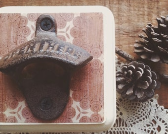 Rustic Wall Mount Beer Bottle Opener, Cottage Chic Bar Accessories, Pretty Barware, Unique Hostess or Housewarming Gift Idea