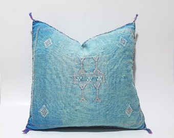 Moroccan Cactus Silk Pillow Cushion Cover, Handmade Sabra cactus silk Pillow, PN40