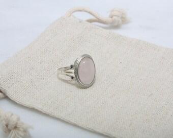 Rose Quartz Ring - Sterling Silver Ring, Womens Ring, Pink Ring, Pink Gemstone Ring, Vegan Ring, Statement Ring, Cute Ring, Boho Ring