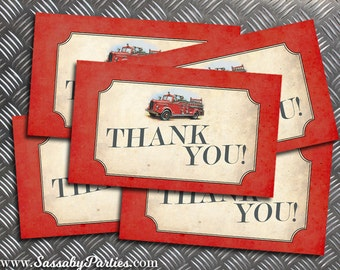Firetruck Thank You Cards - INSTANT DOWNLOAD - Printable Birthday Party Files by Sassaby Parties