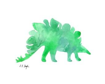 Green Dinosaur, Nursery Art, Original Watercolor Painting, boys room, nursery decor, baby boy, dinosaur wall art, kids room, dinosaur art