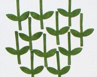 Die Cut Wool Blend Felt Applique Plant Stems Set of 11 Pieces