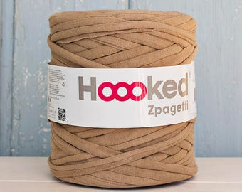 t-shirt yarn 135 yards, ecologic cotton, Zpagetti, camel, recycled yarn, cotton yarn, elastic yarn