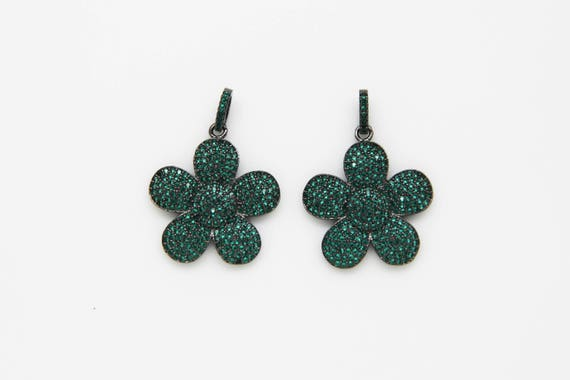 Emerald CZ Micro Pave 25mm Flower Pendant With CZ Bail