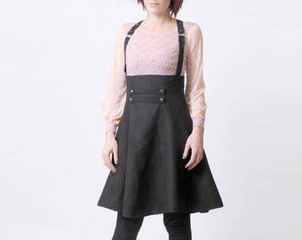 Black suspender Skirt, High waisted suspender skirt, Womens skirts, Womens clothing, Steampunk skirt, MALAM