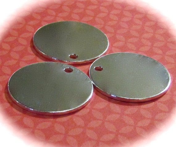 """10 Discs 1.25"""" 14 Gauge Discs Polished with a 3mm Hole 14 Gauge Heavy Weight Pure Food Safe Metal - 10 Discs"""