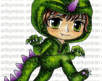 Digital Stamp - Dino Danny (ABM005), Digi Stamp, Coloring page, Printable Line art for Card and Craft Supply