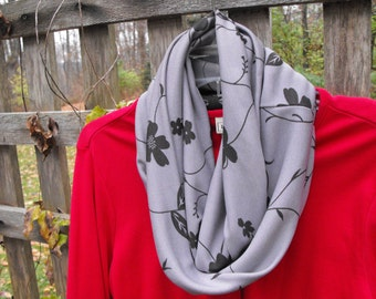 fashionable, versatile infinity scarf in charcoal and grey suitable for gift giving women and girls accessory, fashion accessory, basic