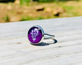 12mm Purple Younique Flourish Adjustable / Expandable Ring / Handmade Jewelry / Gift, Swag Ideas / Younique Inspired