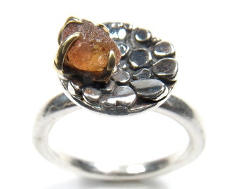 Sterling Silver dots create a circle, set with rough stones on gold yellow bezel- ring