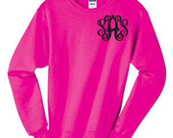 Monogrammed Crewneck Sweatshirt, monogram sweatshirt, glitter, personalized, ladies, jacket, pullover, workout germ