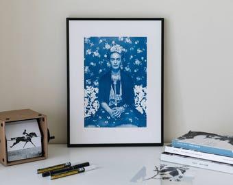 Frida Cyanotype Portrait