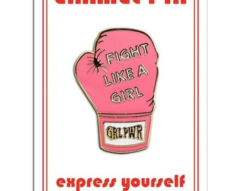 Fight Like A Girl Boxing Glove Enamel Lapel Pin by The Found