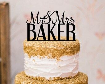 Mr and Mrs with Last Name Wedding Cake Topper, Custom Cake Topper A1072