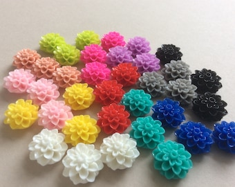 50 Chrysanthemum Cabochons Mixed Set Of Resin Flower Cabochon 15mm