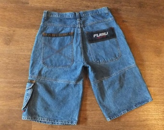 FUBU jeans shorts vintage denim hip-hop shorts 90s hip-hop clothing, 1990s hip hop jeans, OG, gangsta rap, size 38