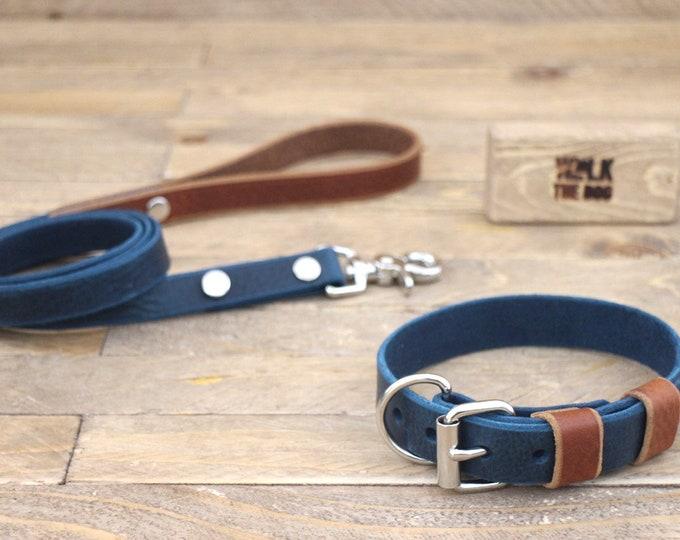 Collar, Leash, Handmade, Lather, Deep ocean, Cowboy brown, Silver hardware, FREE ID TAG, Collar and leash set.
