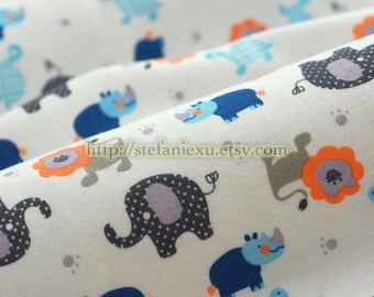 SALE Clearance 1 Yard Zoology Collection, Lovely Dots Baby Elephant, Lion, Turtle and Rhinoceros - Knit Cotton Fabric (35.4x59 Inches)