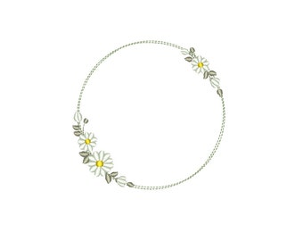 Dainty Wreath of Daisies - Floral Monogram Frame Machine Embroidery design. 3 sizes. Instant download