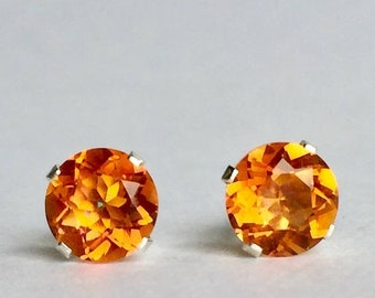MothersDaySale Orange Quartz 6mm 1.45ctw Sterling Silver Gemstone Stud Earrings