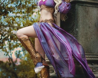 Goddess costume Bellydance Couture Silk Dress Oriental Goddess Princess Cosplay Gothic Pagan Clothing Tribal Fusion Burlesque Stage Wear