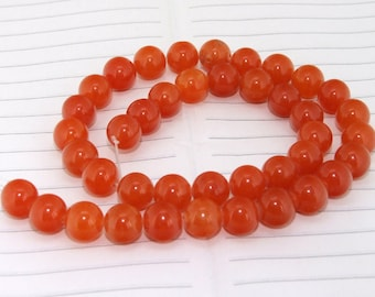 """strand Round Orange  Jade Beads ----- 10mm ----- about 38Pieces ----- gemstone beads--- 15"""" in length"""