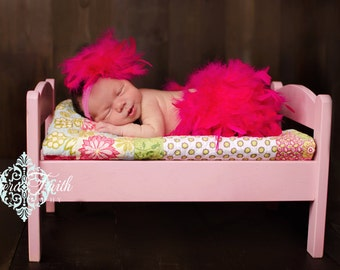 Hot Pink Feather Bloomer & Headband Set, Hot Pink Feather Diaper Cover, Hot Pink Feather Tutu, Hot Pink Feather Skirt, Newborn Photo Outfit