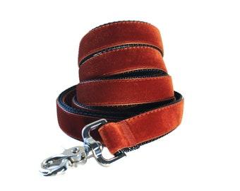 Velvet Dog Leash Lead, Copper Velvet Leash, 5 foot Dog Lead, Velvet Leash, Velvet Leash Lead