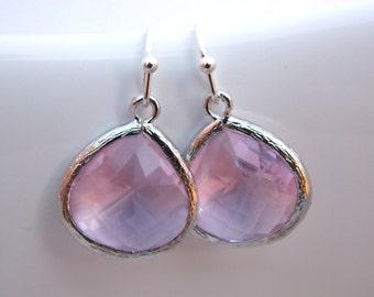 Pink Earrings, Glass Earrings, Rose Earrings, Silver Earrings, Soft Pink, Bridesmaid Earrings, Bridal Earrings Jewelry, Bridesmaid Gift
