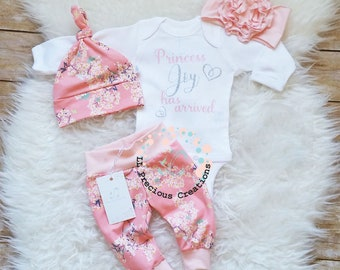 Baby Girl Clothes Newborn Baby Girl Outfit Coming Home Outfit  Personalized Outfit Baby Shower Gift Baby Gift Cherry Blossom
