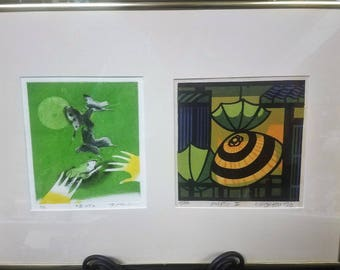Hori Hedeo Signed Prints (2) in one frame