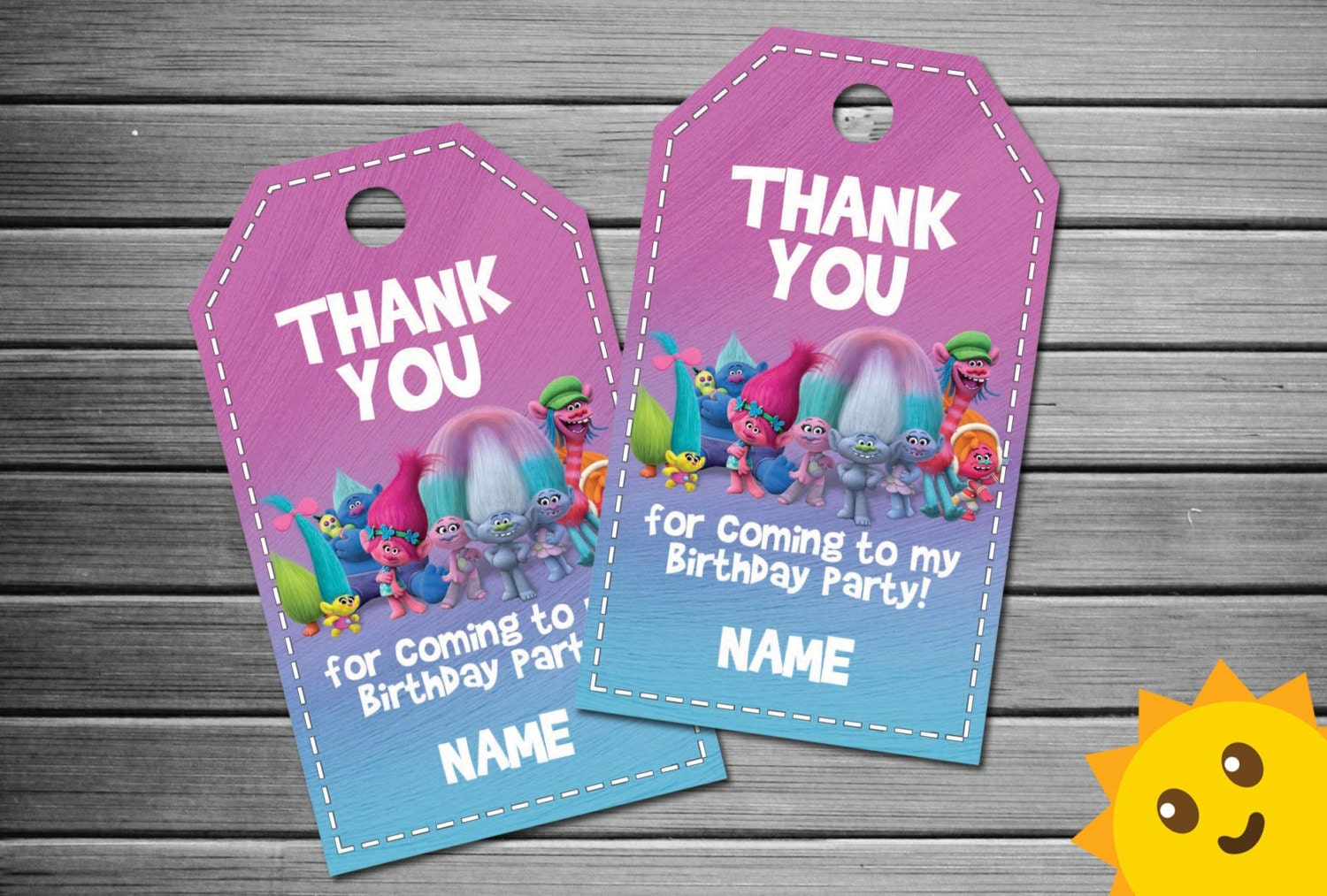 Trolls Thank You Tags Trolls Birthday Favor Tags Trolls