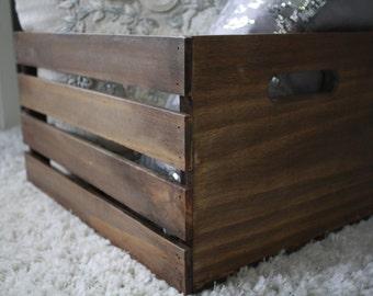 Wooden Crate- Storage Crate- Decorative Crate- Farmhouse Decor- Rustic Decor- Bathroom Storage- Toy Storage- Wood Decor- Farmhouse