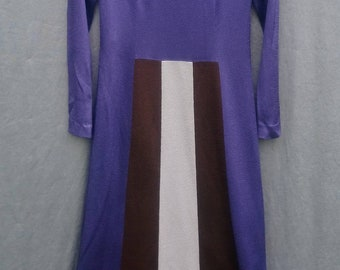 Stunning 1970s Jersey Maxi Dress Modernist Minimalist Abstract Geometric