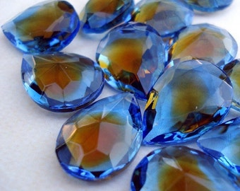 Vintage 18x13mm Topaz and Sapphire Glass Pear/Teardrops Unfoiled Glass Jewels  (2)